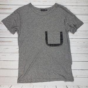 NWOT Zara Heather Gray Ruffle Pocket Tshirt Small